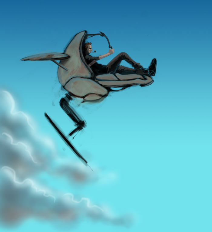 Speed-painting of a flying machine