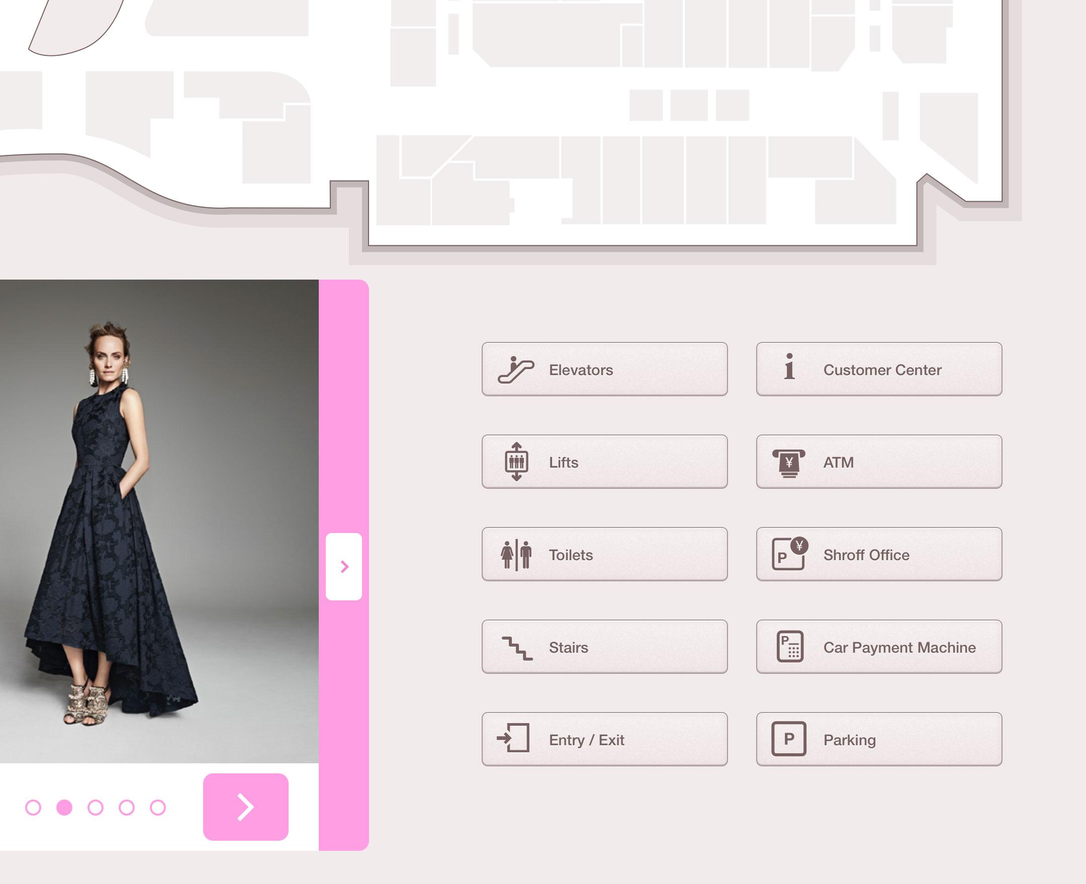 Kiosk Design details: facilities' buttons
