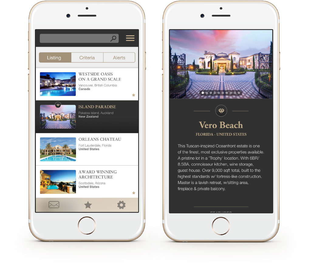 Luxury Real Estate UI Design for mobile device